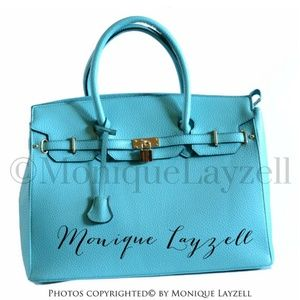 Handbags - Turquoise Fashion Inspired Tote Bag Faux Leather